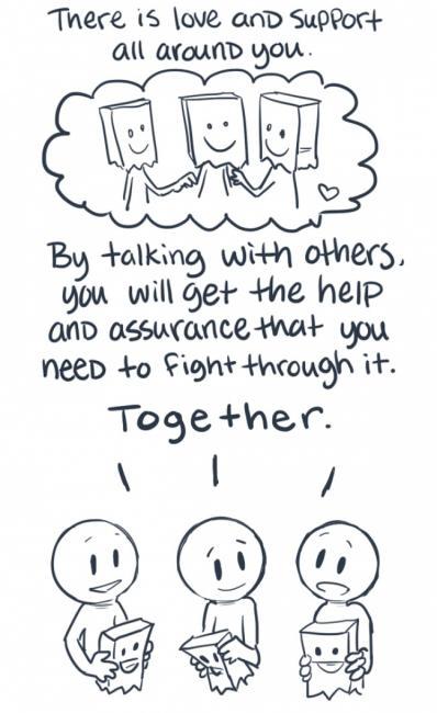 Å snakke med andre med depresjon kan være til stor hjelp da man kan bekjempe problemet sammen.