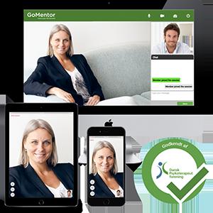 Online terapi med psykolog eller terapeut på computer, tablet og smartphone