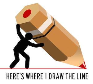 En illustrativ mand tegner en streg i jorden med en kæmpe blyant, for at antyde hvor han sætter sin grænse